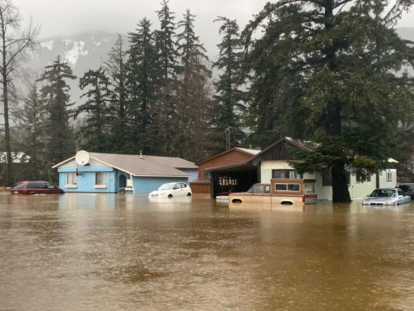 A neighborhood near downtown Haines flooded Wednesday morning, Dec. 2, 2020. (Henry Leasia/KHNS)