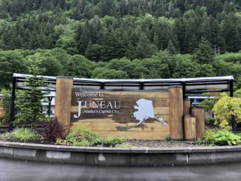 A wet Welcome to Juneau sign, taken on June 3, 2020.