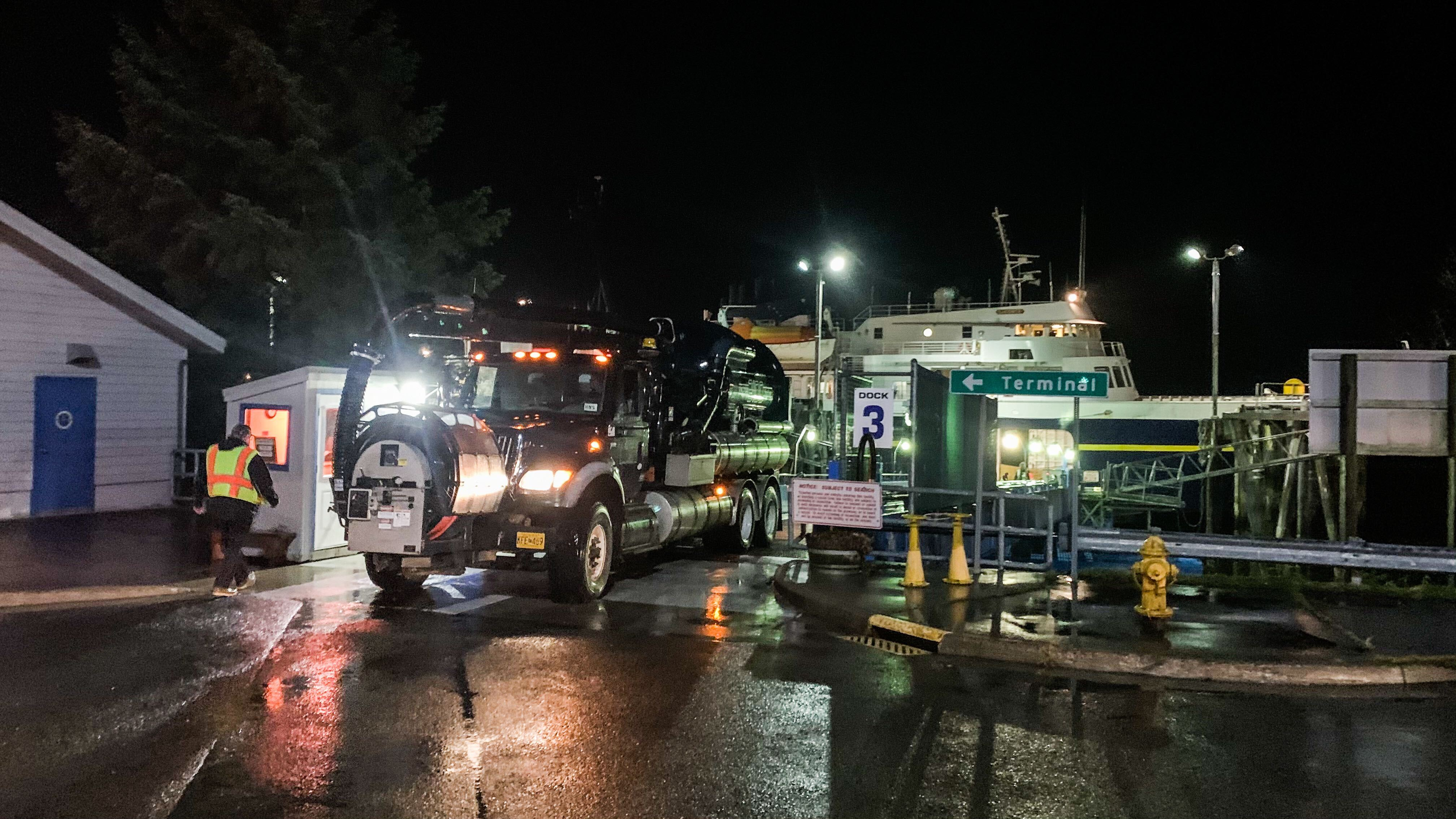 Heavy equipment being loaded on to the ferry LeConte in Juneau