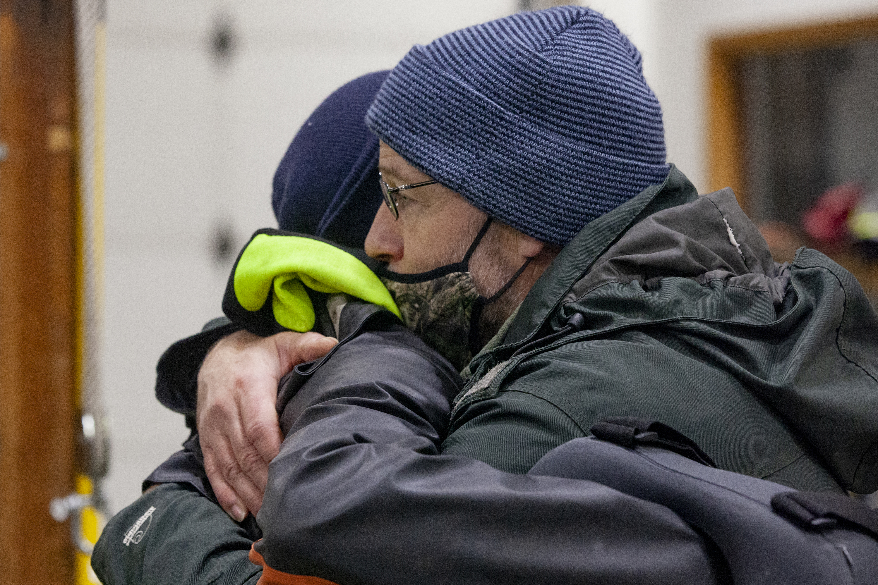 Doug Larson reacts after hearing that Alaska State Troopers are calling off their search for his missing daughter, Jenae Larson, on Monday, Dec. 7, 2020, in Haines, Alaska. Larson and her landlord, Haines resident David Simmons have been missing since a 600-foot landslide swept through their home during a record-breaking rainfall. (Photo by Rashah McChesney/KTOO)