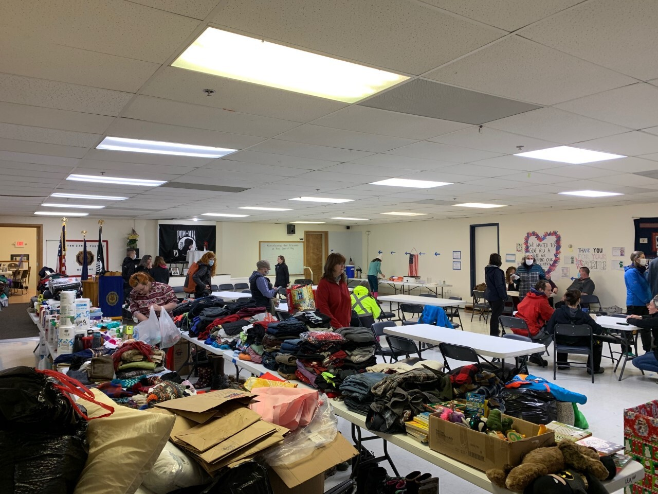 Donations piled up at the American Legion Hall in Haines