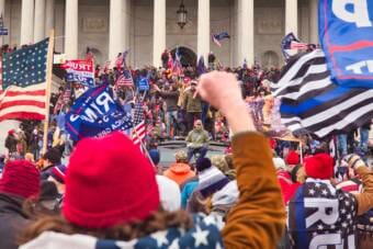 Protestors on the steps of the on Jan. 6, 2021, in Washington, D.C. (Photo courtesy Brett Davis via Flickr)