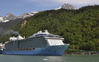 Royal Caribbean International's Ovation of the Seas, another quantum-class cruise ship, in Skagway's port. (Claire Stremple/KHNS)