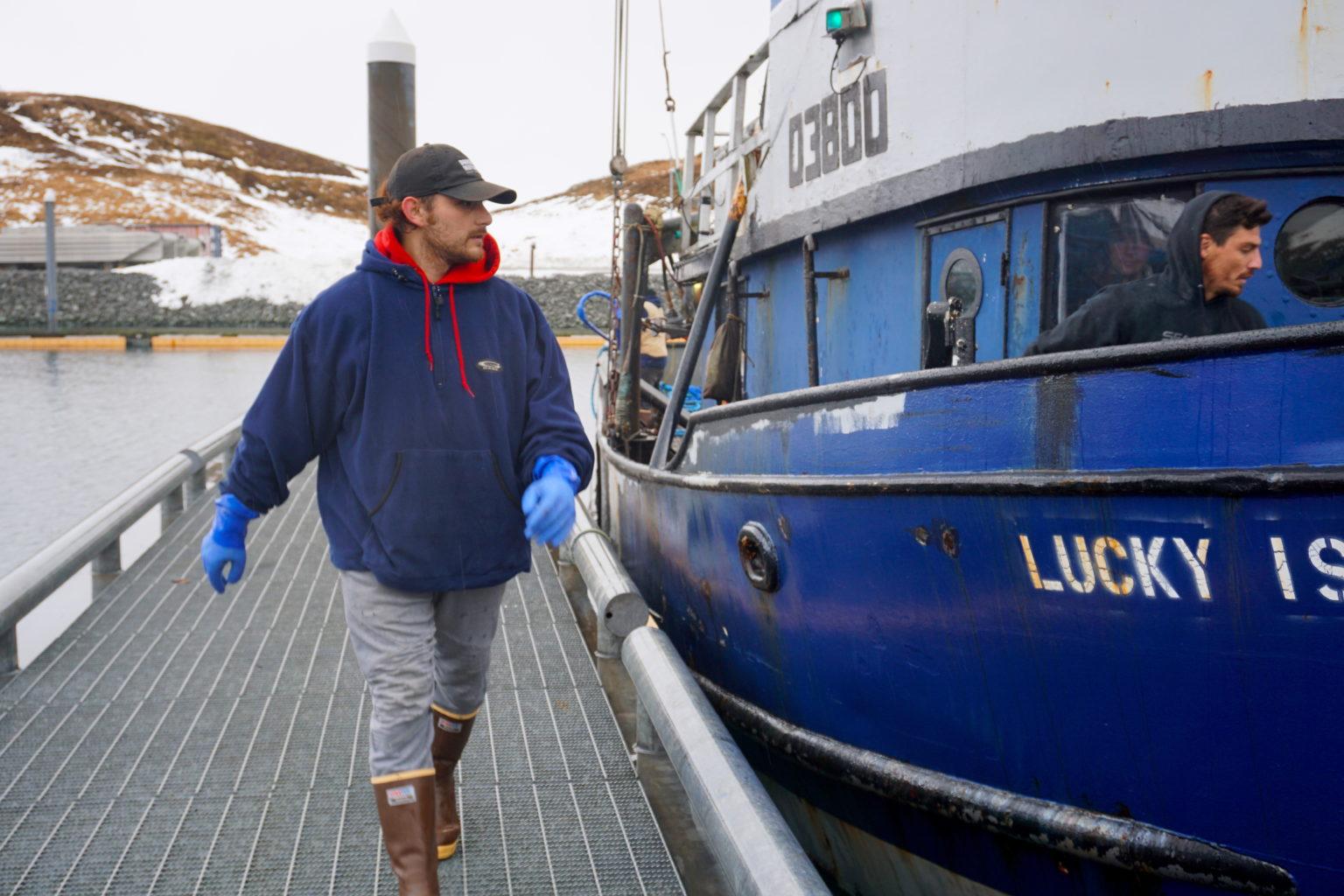 The F/V Lucky Island is docked Friday at Carl E. Moses Harbor on the Aleutian Island of Unalaska.
