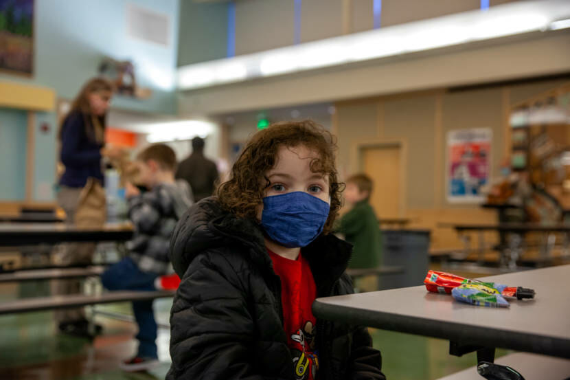 Florence Young, 5, takes it all in during the first day of in-person classes at Sayéik Gastineau Community School on Thursday, Jan. 14, 2021, in Juneau, Alaska. (Photo by Rashah McChesney/KTOO)