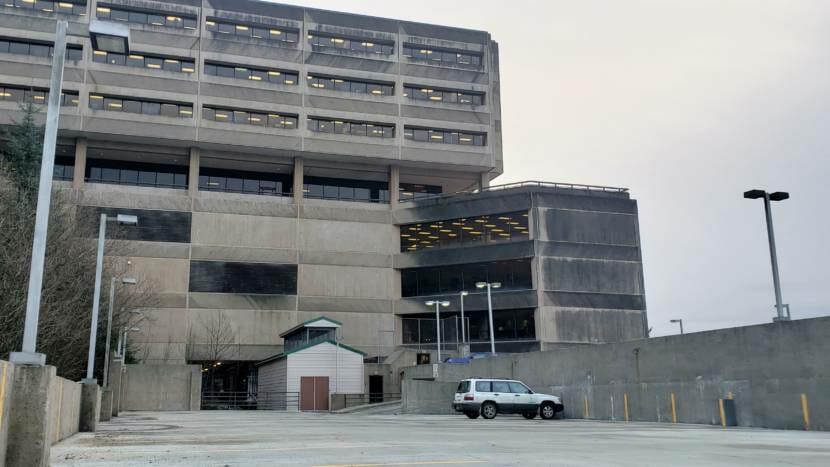 State Office Building empty parking garage 2021 01 22