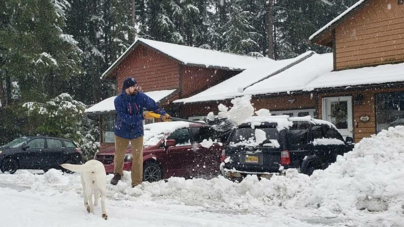 Mike Ward shovels snow