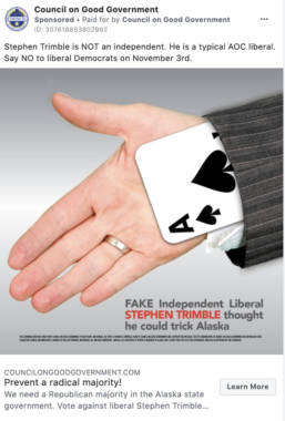 "A screenshot of a Facebook advertisement showing a hand with an ace of spades playing card, and text above the image that reads ""Stephen Trimble is not an independent. He is a typical AOC liberal. Say no to liberal democrats on Novemeber 3rd."""