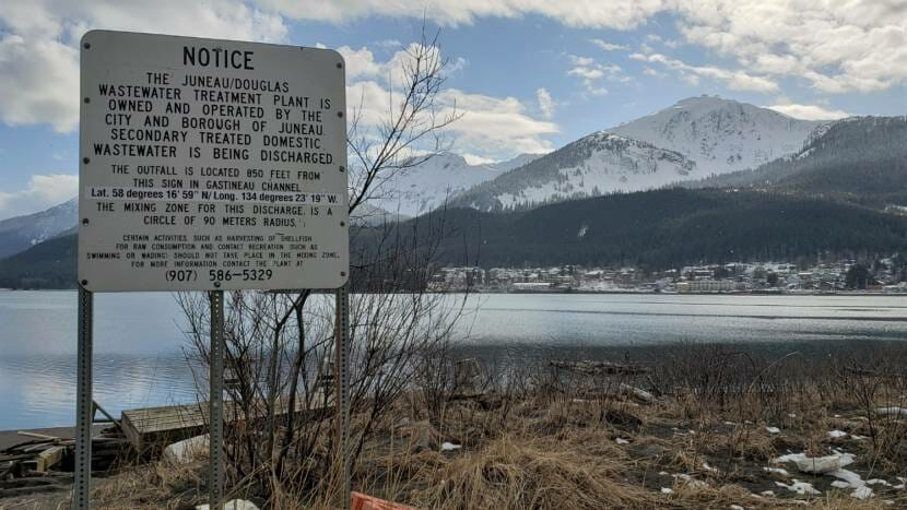 Juneau-Douglas Wastewater Treatment Plant outflow pipe sign Gastineau Channel