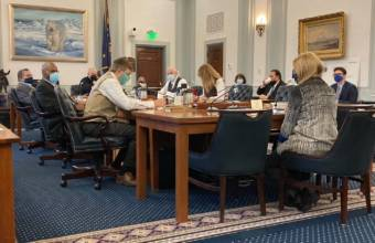 Members of the Alaska Senate Finance Committee attend a meeting on Feb. 4, 2021, in the Alaska State Capitol in Juneau. (Photo by Andrew Kitchenman/KTOO and Alaska Public Media)