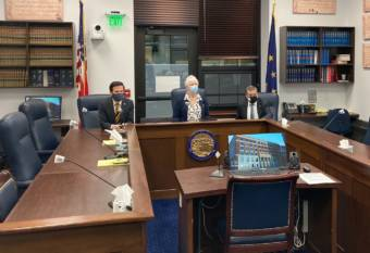 Rep. Neal Foster, D-Nome; House Speaker Louise Stutes, R-Kodiak; and Rep. Chris Tuck, D-Anchorage prepare for a House majority caucus news conference on March 18, 2021, ,in the Alaska State Capitol in Juneau, Alaska. (Photo by Andrew Kitchenman/KTOO and Alaska Public Media)