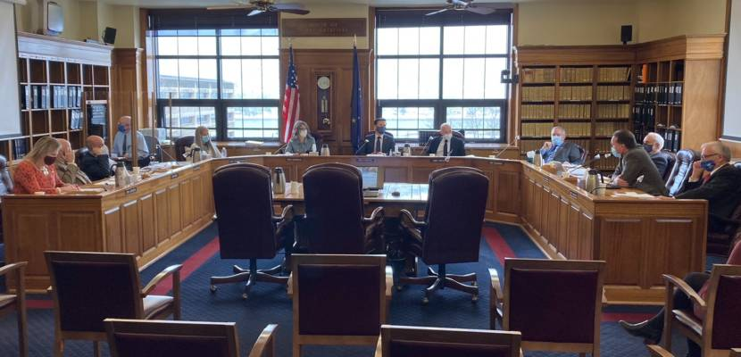 The Alaska House Finance Committee discusses a bill that would extend Gov. Mike Dunleavy's disaster declaration, in the Alaska State Capitol in Juneau, Alaska, on March 22, 2021. (Photo by Andrew Kitchenman/KTOO and Alaska Public Media)