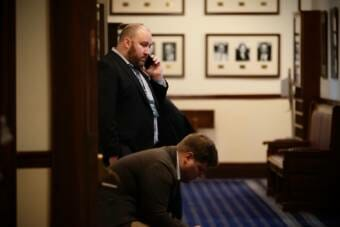 Jeff Landfield, founder of the Alaska Landmine at work at the Capitol in 2020. (Photo courtesy Brian Hild)