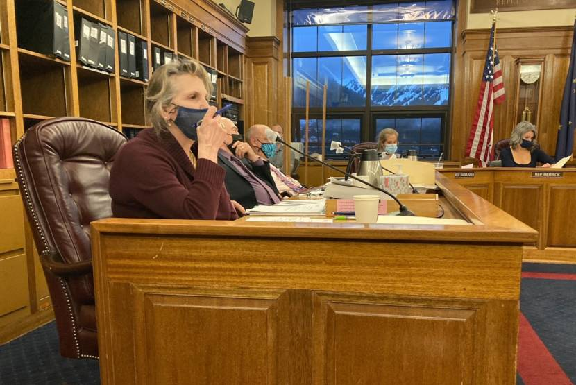 Palmer Republican Rep. DeLena Johnson pauses before commenting on her budget amendment to pay $3,000 dividends on Thursday in the Alaska State Capitol in Juneau, Alaska. Rep. Adam Wool, D-Fairbanks; Rep. Andy Josephson, D-Anchorage; a committee aide; Rep. Sara Rasmussen, R-Anchorage; and Rep. Kelly Merrick, R-Eagle River, are behind Johnson. (Photo by Andrew Kitchenman/KTOO and Alaska Public Media)
