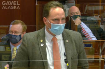 Rep. Ben Carpenter, R-Nikiski, speaks against an amendment to House Bill 169 on April 21, 2021, in the Alaska State Capitol in Juneau, Alaska. (Gavel Alaska screen capture)