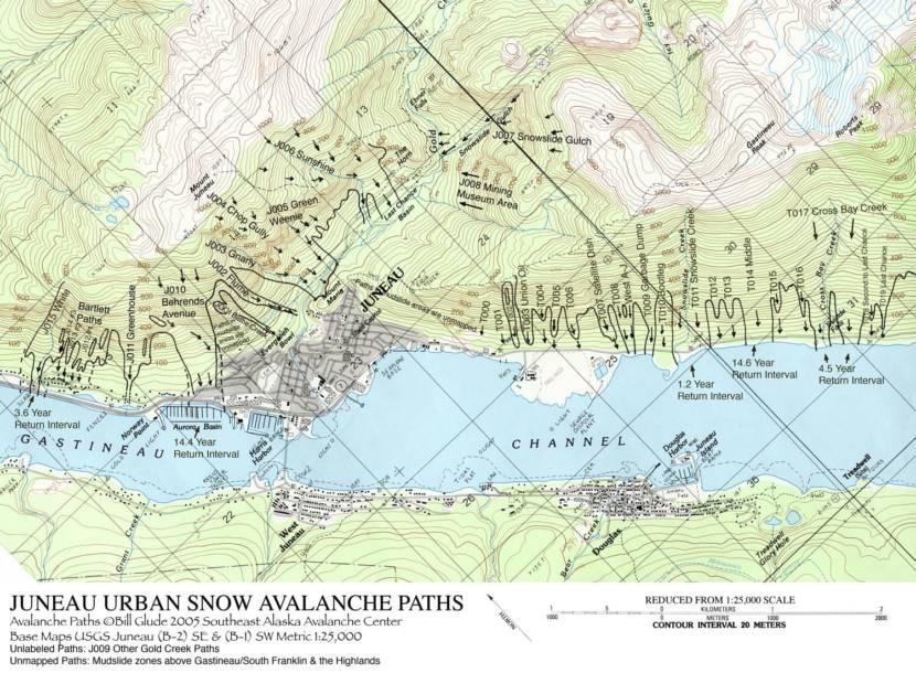 Juneau urban snow avalanche path