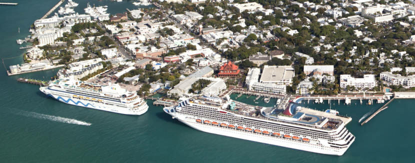 Key West cruise ships aerial