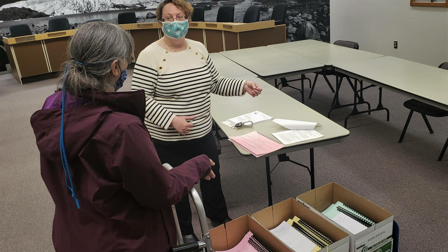 2021 05 03 Karla Hart picks up signature booklets from Juneau City Clerk Beth McEwen at City Hall 2 1536x864.