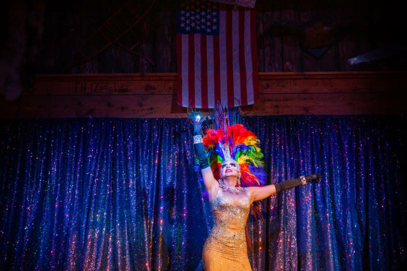 Gigi Monroe (James Hoagland) performs during Juneau Drag's first live show in 15 months on Saturday, May 22, 2021, in Juneau, Alaska. (Photo by Rashah McChesney/KTOO)