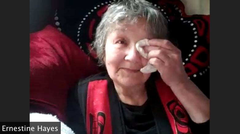 Ernestine Hayes held back tears as she talked about being marginalized as a young girl in territorial Alaska.