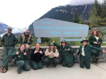 Mendenhall Glacier Visitor Center and Recreation Area staff members pose for a photo.