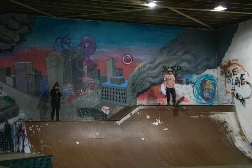 Skateboarders skate at the first women and trans skateboarding session in Juneau, Alaska