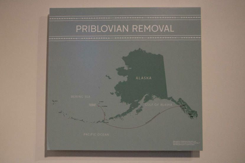 A graphic in the Juneau-Douglas City Museum showing the forced internment of Unangax̂ people from the Aleutian Islands to Southeast Alaska. The graphic is part of an exhibit at the museum - Echoes of War: Unangax̂ Internment During WWII - which runs through October 18, 2021.