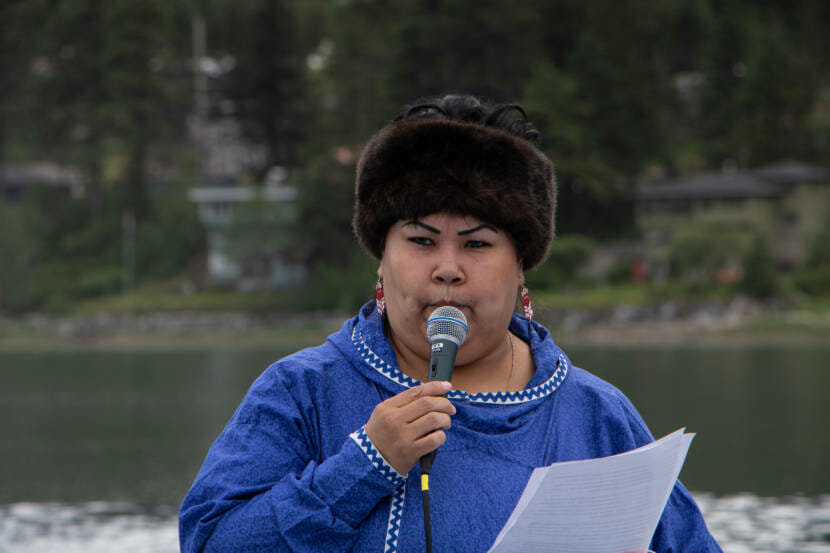 Jennifer Brown speaking at a candlelight vigil for the 215 children found buried at the Kamloops Indian Residential School in Kamloops, British Columbia.