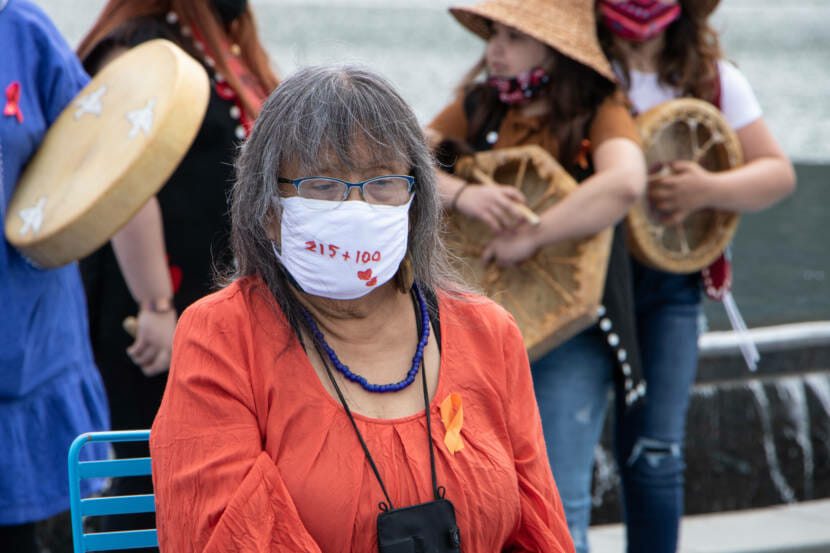 Leona Santiago at a vigil for the 215 children found buried at a residential school in Kamloops, British Columbia.
