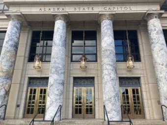 The Alaska State Capitol doors have required key cards to unlock throughout the 2021 legislative session, June 16, 2021. (Photo by Andrew Kitchenman/KTOO and Alaska Public Media)