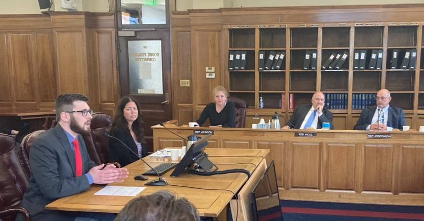Alaska Office of Management and Budget Director Neil Steininger, left, responds to questions from House Finance Committee members in the Alaska State Capitol in Juneau on June 24, 2021. From the left: state Division of Personnel and Labor Relations Director Kate Sheehan; Rep. DeLena Johnson, R-Palmer; Rep. Adam Wool, D-Fairbanks; and Rep. Andy Josephson, D-Anchorage. The committee also heard from business leaders concerned about a potential state government shutdown on July 1. (Photo by Andrew Kitchenman/KTOO and Alaska Public Media)