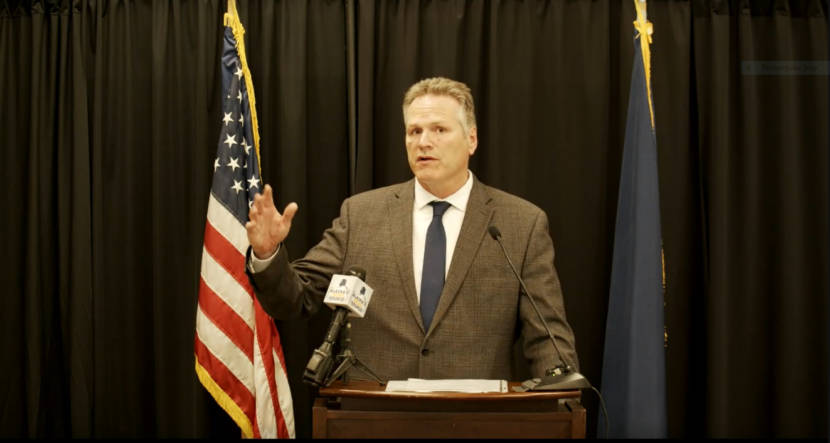 Gov. Mike Dunleavy talks during a news conference on Thursday, July 6, 2021. Dunleavy said he would veto a $4 billion transfer from the permanent fund's earnings reserve to the constitutionally protected part of the fund. (Screen capture of the news conference)