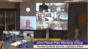 The members of the Joint Comprehensive Fiscal Plan Working Group listen to Sen. Lyman, D-Bethel, at the bottom center, on July 7, 2021, in the Anchorage Legislative Information Office. The group held its first meeting. (Gavel Alaska screen capture)