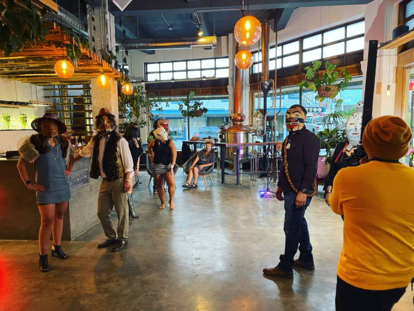 """Behind the scenes at Amalga Distillery where Qacung Stephen Blanchett and Air Jazz (Arias Hoyle) film the video for """"On That Day"""" in Juneau, Alaska. (Photo courtesy Joy Demmert)"""