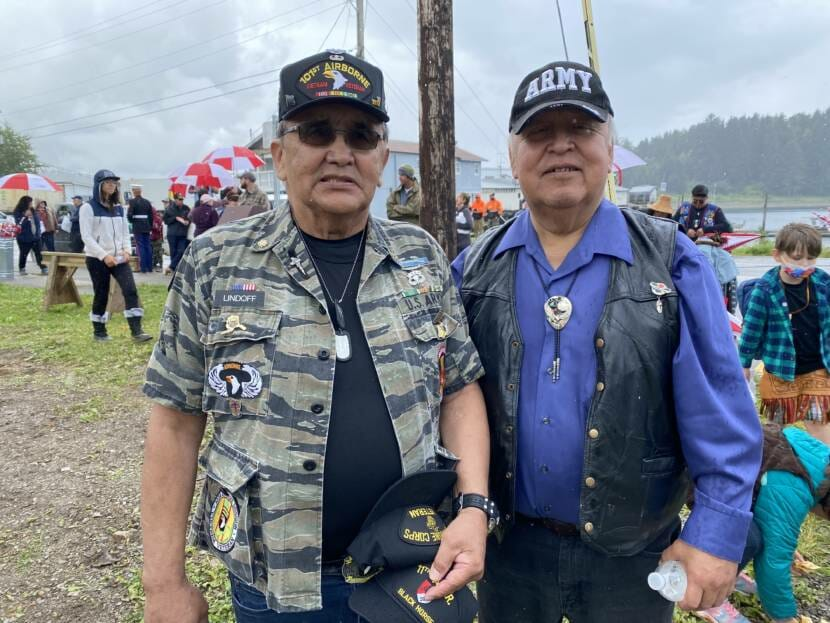 """Veterans William """"Ozzie"""" Sheakley and James Lindoff Jr. pose during a totem pole raising ceremony in Hoonah on Saturday, July 24."""