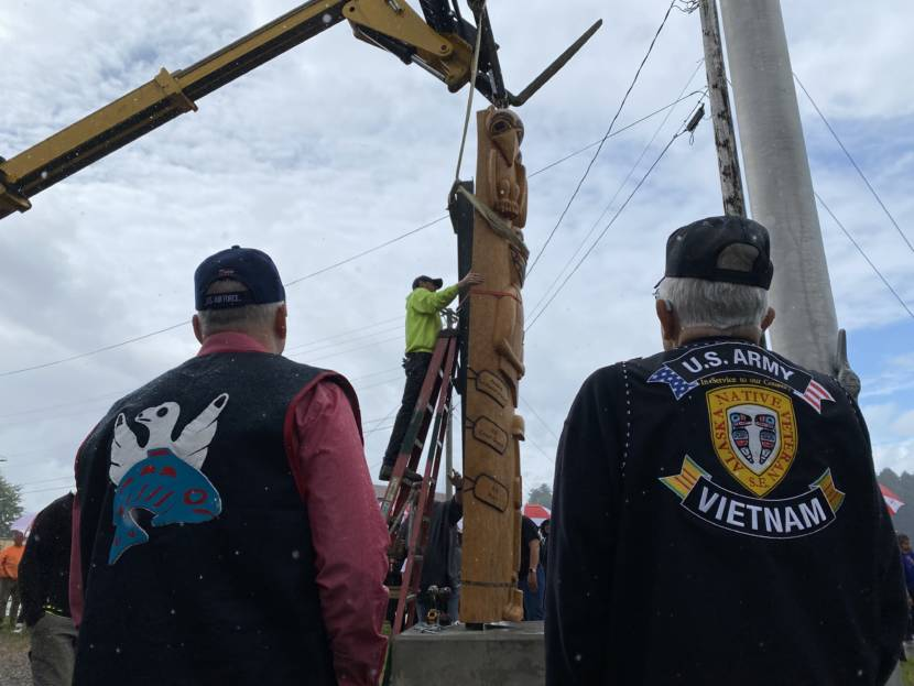 Veterans and their families came together for a totem pole raising ceremony in Hoonah on Saturday, July 24.