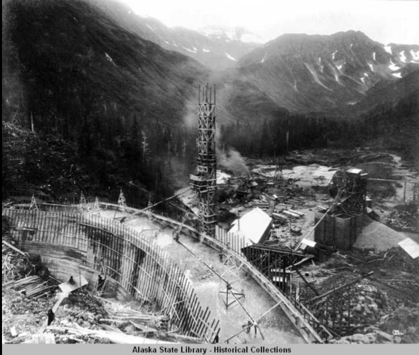 Salmon Creek Dam, under construction, 1913. Photo courtesy Alaska Electric Light and Power Company Photograph Collection/ Alaska State Library)