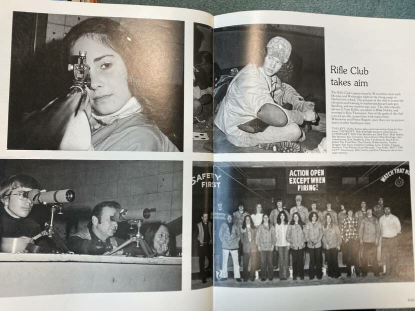 The 1974-'75 high school rifle club as pictured in the yearbook.