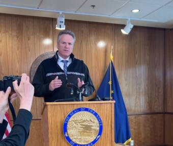 Gov. Mike Dunleavy speaks at a news conference in the Alaska State Capitol in Juneau on Aug. 16, 2021. Dunleavy talked about what he would like the Legislature to pass during the third special session this year. (Photo by Andrew Kitchenman/KTOO and Alaska Public Media)