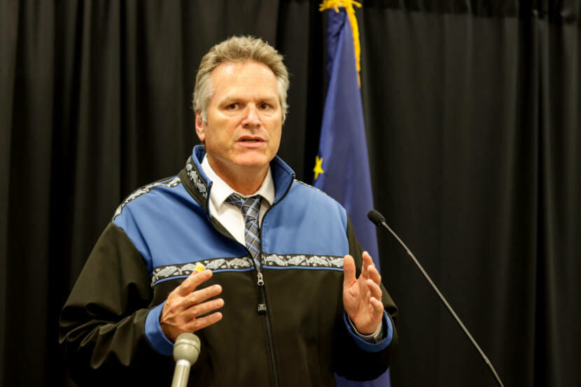 Gov. Mike Dunleavy discusses the state of the coronavirus pandemic during a news conference at the Atwood Building in Anchorage on Thursday, Aug. 26, 2021. (Matthew Faubion / Alaska Public Media)