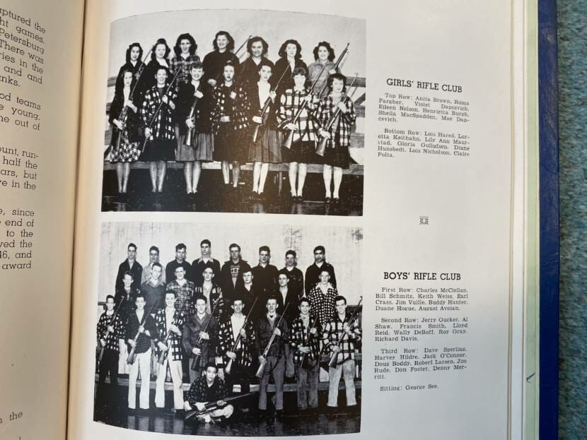 The 1946-'47 high school rifle club as pictured in the yearbook.