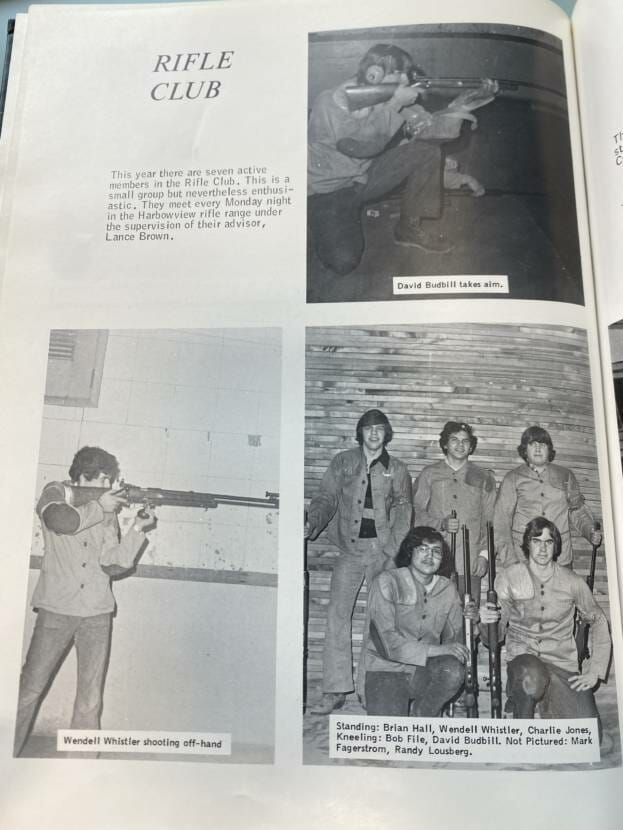 The 1976-'77 high school rifle club as pictured in the yearbook.