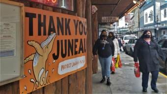 Protect Juneau's Future banner at Red Dog Saloon