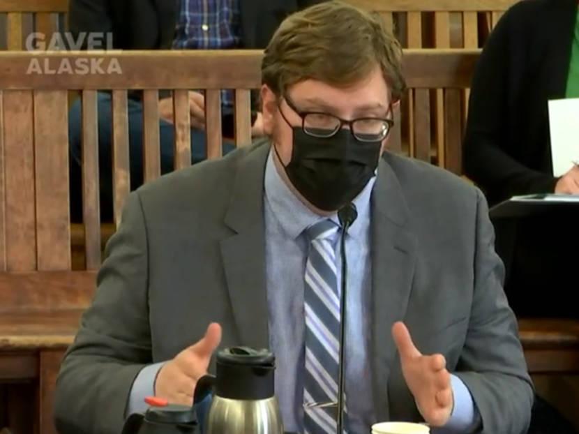 Legislative Finance Division Director testifies to the Alaska Senate Finance Committee on Sept. 8, 2021, in the Alaska State Capitol in Juneau. (Gavel Alaska screen capture)