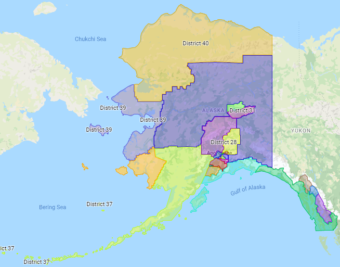 This draft map was one of two prepared by the state Redistricting Board. The board has since revised the drafts and will be holding 20 meetings around Alaska over the next seven weeks. (Screen capture of Redistricting Board site)