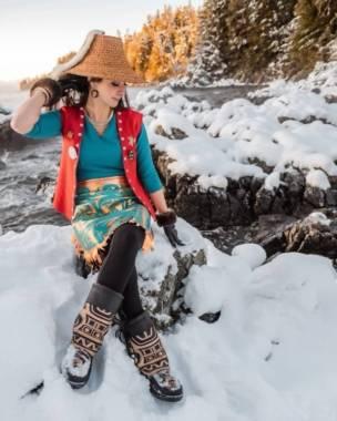 A portrait of Tlingit artist Kaasteen Jill Meserve in Juneau, Alaska taken by Konrad Frank. (Photo courtesy of Jill Meserve)