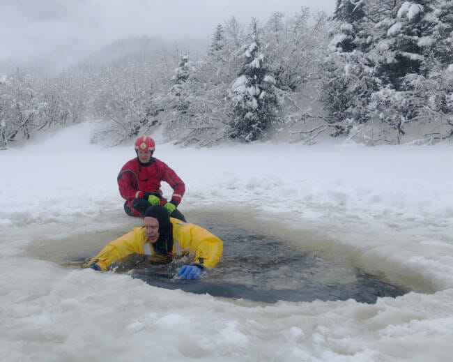 Matt Miller was recording audio for a story on ice self-rescue techniques when he was challenged to put on a dry suit and try it himself.