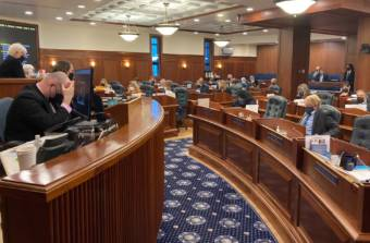 The Alaska House of Representatives meets on the first day of the fourth special session of the year, on Oct. 4, 2021, in the State Capitol in Juneau. The House passed a resolution that would have allowed the Legislature to leave Juneau for up to eight days, but the Senate didn't consider the measure. (Photo by Andrew Kitchenman/KTOO and Alaska Public Media)