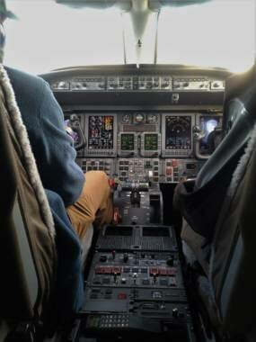 a view of the learjet's cockpit
