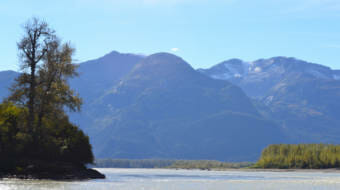 A wide river with mountains in the background